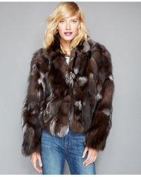 The Fur Vault Pieced Fox Fur Cropped Jacket - Green