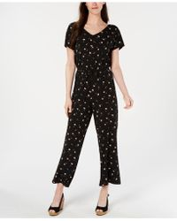 Style & Co. Printed Drawstring Jumpsuit, Created For Macy's - Black