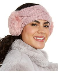 INC International Concepts Inc Cable-knit Headwrap With Faux Fur, Created For Macy's - Multicolor