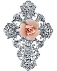 2028 Symbols Of Faith Silver-tone Pink Porcelain Rose Cross Pin