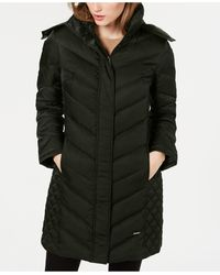 Kenneth Cole Faux-fur-trim Hooded Down Puffer Coat - Green