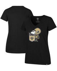 47 Brand Black New Orleans Saints Throwback Imprint Ultra Rival V-neck T-shirt