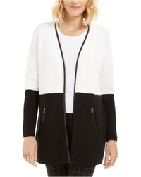 Charter Club Petite Faux-leather-trim Colorblock Cardigan, Created For Macy's - Black