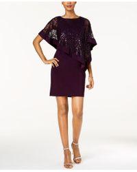 R & M Richards Sequined Cape Sheath Dress - Purple