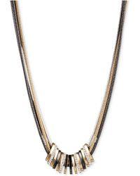 Nine West - Tri-tone Crystal Large Slider Necklace - Lyst
