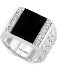 Effy Collection - Men's Onyx (4-9/10 Ct. T.w.) And Diamond (3/10 Ct. T.w.) Woven Ring In Sterling Silver - Lyst