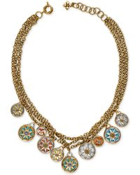 """Patricia Nash Two-tone Compass Triple-chain Charm Necklace, 23-1/2"""" + 3"""" Extender - Metallic"""