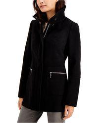 Maralyn & Me Juniors' Stand-collar Coat, Created For Macy's - Black