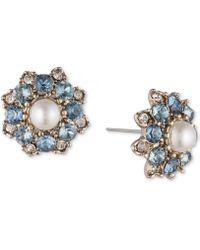 Marchesa - Gold-tone Crystal, Stone & Imitation Pearl Stud Earrings - Lyst