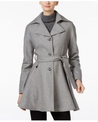 INC International Concepts - Belted Skirted Peacoat - Lyst