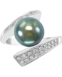 Effy Collection Effy® Cultured Black Tahitian Pearl (10mm) & Diamond (1/4 Ct. T.w.) Statement Ring In 14k White Gold