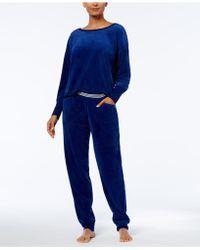 Hue - Solid Velour Lounge Pyjama Set - Lyst