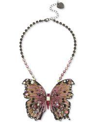 "Betsey Johnson - Hematite Tone Glitter & Stone Large Butterfly Statement Necklace, 16"" + 3"" Extender. - Lyst"