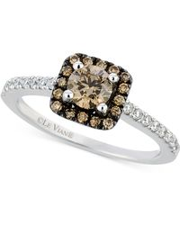 Le Vian - Chocolate And White Diamond Ring In 14k White Gold (3/4 Ct. T.w.) - Lyst