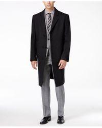 London Fog Big And Tall Signature Wool-blend Overcoat - Grey