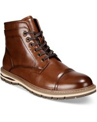 Alfani Travis Cap-toe Lace-up Boots, Created For Macy's - Brown