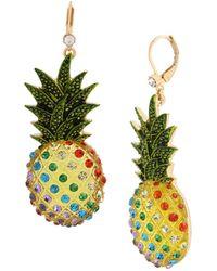 Betsey Johnson Pineapple Drop Earrings - Multicolour