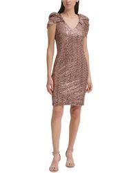 Eliza J Sequined Puff-sleeve Sheath Dress - Multicolour