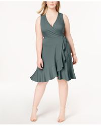 Soprano - Trendy Plus Size Ribbed Ruffled Faux-wrap Dress - Lyst