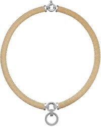 Macy's | Diamond Circle Pendant Mesh Necklace In Vermeil And Sterling Silver (3/4 Ct. T.w.) | Lyst