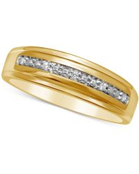 Macy's Men's Diamond Accent Wedding Band In 14k Gold - Metallic