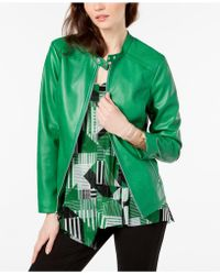 Alfani Stitch Detail Stand Collar Jacket, Created For Macy's - Green