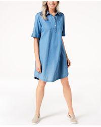 Karen Scott Petite Cotton Denim Shirtdress, Created For Macy's - Blue