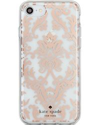 Kate Spade - Rose Gold-tone Tapestry Iphone 8 Case - Lyst
