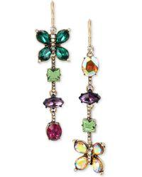 Betsey Johnson   Gold-tone Crystal Butterfly Mismatch Earrings   Lyst