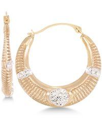 Macy's - Crystal Ribbed Hoop Earrings In 10k Gold - Lyst