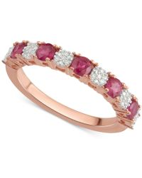 Macy's - Ruby (5/8 Ct. T.w.) & Diamond Accent Ring In 14k Rose Gold - Lyst