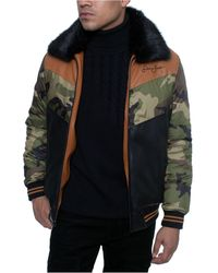 Sean John Faux Leather Mixed Media Chevron Quilt Bomber Jacket With Removable Faux Fur Collar - Multicolor