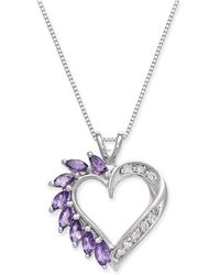 Macy's - Amethyst (3/4 Ct. T.w.) And Diamond Accent Heart Pendant Necklace In 14k White Gold - Lyst