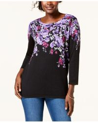 Karen Scott - Placed Floral-print Sweater, Created For Macy's - Lyst
