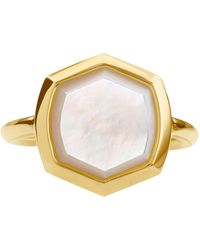 Kendra Scott 18k Gold Vermeil Mother-of-pearl Hexagon Statement Ring (also In Turquoise) - Metallic