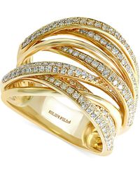 Effy Collection - Diamond Overlap (3/4 Ct. T.w.) In 14k White Gold, Yellow Gold And Rose Gold - Lyst