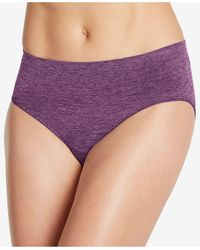 Jockey Smooth And Shine Seamfree Heathered Hi Cut Underwear 2188, Available In Extended Sizes - Purple