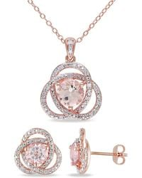 Macy's Morganite (2-7/8 Ct. T.w.) And Diamond (1/5 Ct. T.w.) Trillium 2-piece Earrings And Necklace Set In 18k Rose Gold Over Silver - Metallic