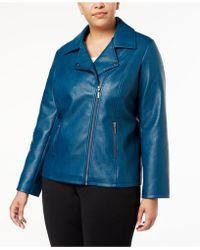 d9fb845f34203 Alfani - Plus Size Faux-leather Moto Jacket - Lyst