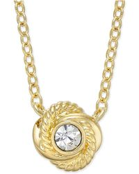 Kate Spade - Infinity & Beyond Gold-tone Crystal Knot Pendant Necklace - Lyst