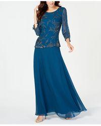 J Kara Beaded Overlay Gown - Blue