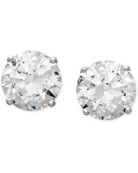 Arabella - 14k White Gold Earrings, Swarovski Zirconia Round Stud Earrings (6-5/8 Ct. T.w.) - Lyst
