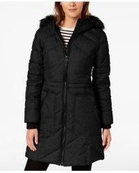 Guess - Mixed-media Hooded Parka - Lyst