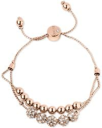 Guess - Rose Gold-tone Pavé Beaded Double-row Slider Bracelet - Lyst