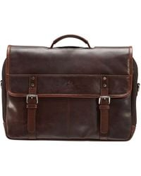 """Mancini Double Compartment Briefcase With Rfid Secure Pocket For 15.6"""" Laptop And Tablet - Brown"""