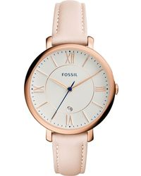 Fossil - Women's Jacqueline Blush Leather Strap Watch 36mm Es3988 - Lyst