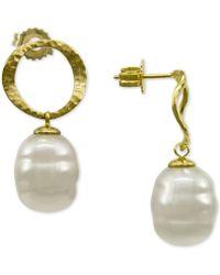 Majorica - Gold-tone Imitation Baroque Pearl Drop Earrings - Lyst
