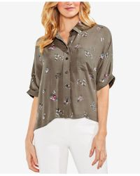 Vince Camuto - Floral-print Cuffed-sleeve Blouse - Lyst