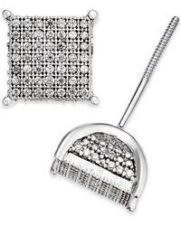 Macy's - Men's Diamond Square Cluster Stud Earrings In Sterling Silver - Lyst