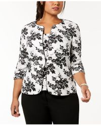Alex Evenings - Plus Size Sequined Printed Jacket & Shell - Lyst